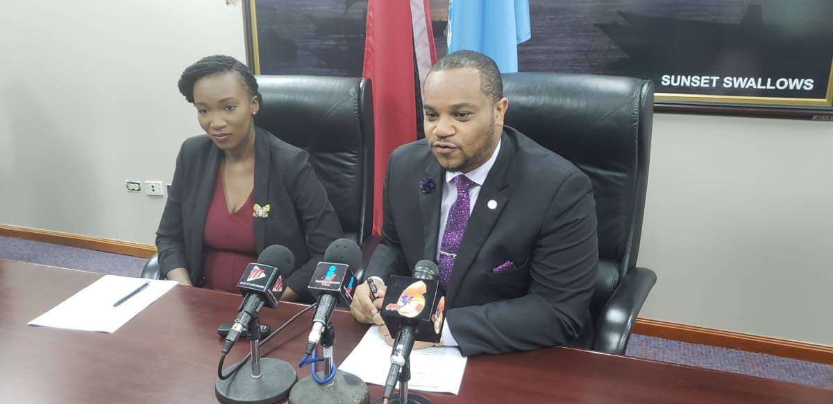 Secretary of Infrastructure Kwesi DesVignes and Transportation Planner with the Division of Infrastructure Nadia Frank-John at  Wednesday's post Executive Council media briefing at the Division of Tourism  in Scarborough