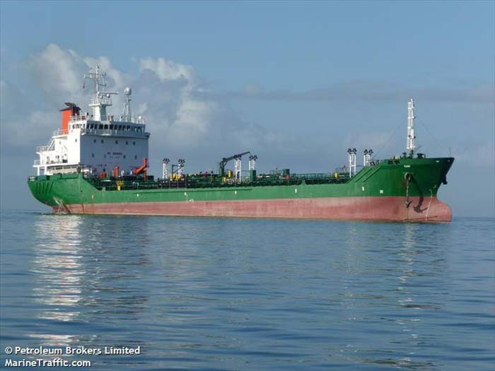 The  Nigerian oil tanker MT Tumini off TCL's jetty, Claxton Bay, has been sold for US$. 5.