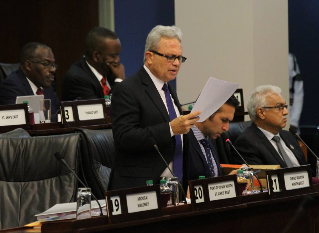 Finance Minister Colm Imbert in the House. FILE PHOTO
