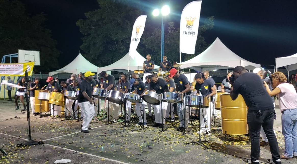 Members of the Buccoo-based Royal Pan Illusions performs at the National Panorama Single Pan Finals at the Arima Basketball Court last Sunday evening. The band took 15th spot with 263.0 points. The other Tobago band appearing at the finals was Metro Stars, securing 10th spot with 269.0 points.