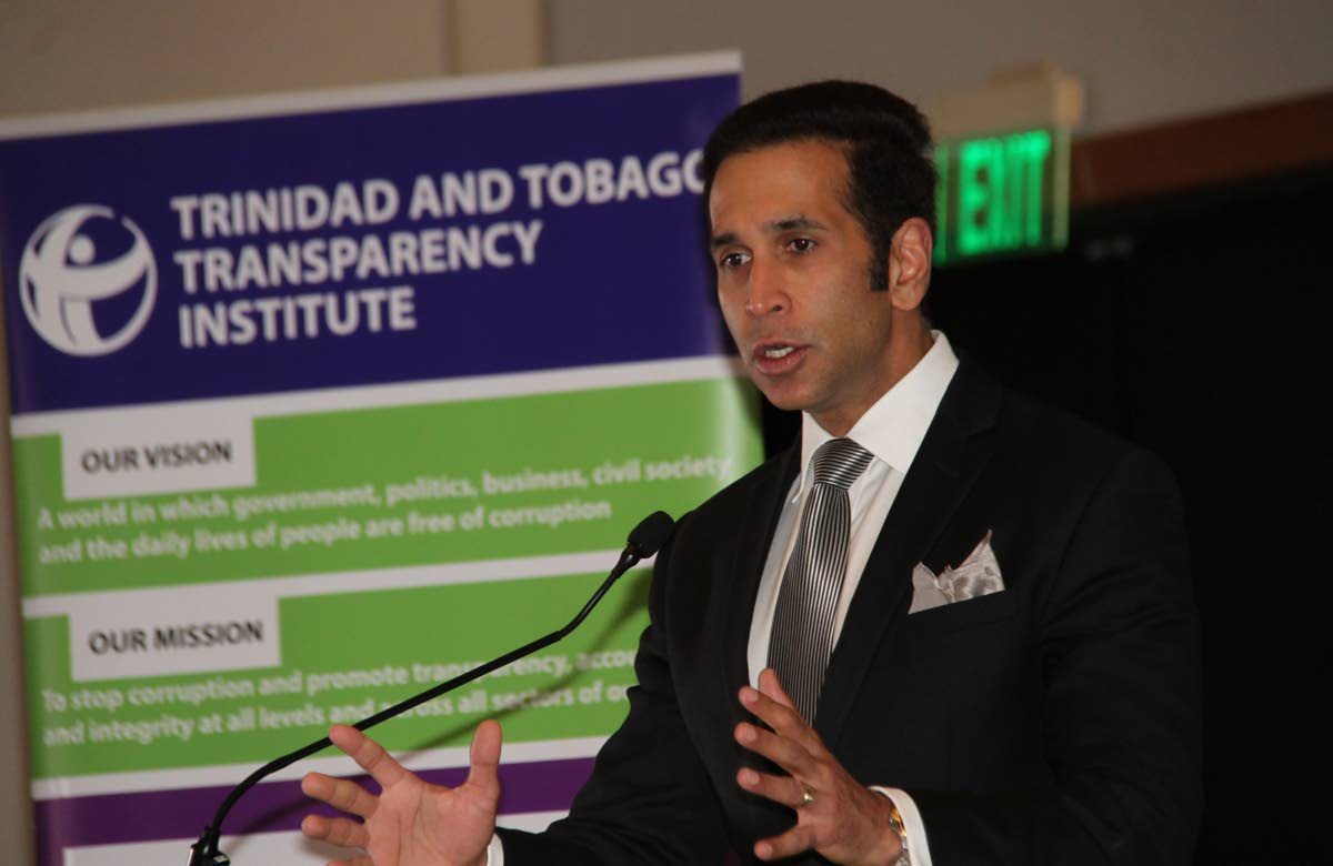 Attorney General Faris Al Rawi addresses the workshop on secret company ownership hosted by the TT Transparency Institute at the recently held Energy Conference at the Hyatt Trinidad, Port of Spain. Photo by Sureash Cholai
