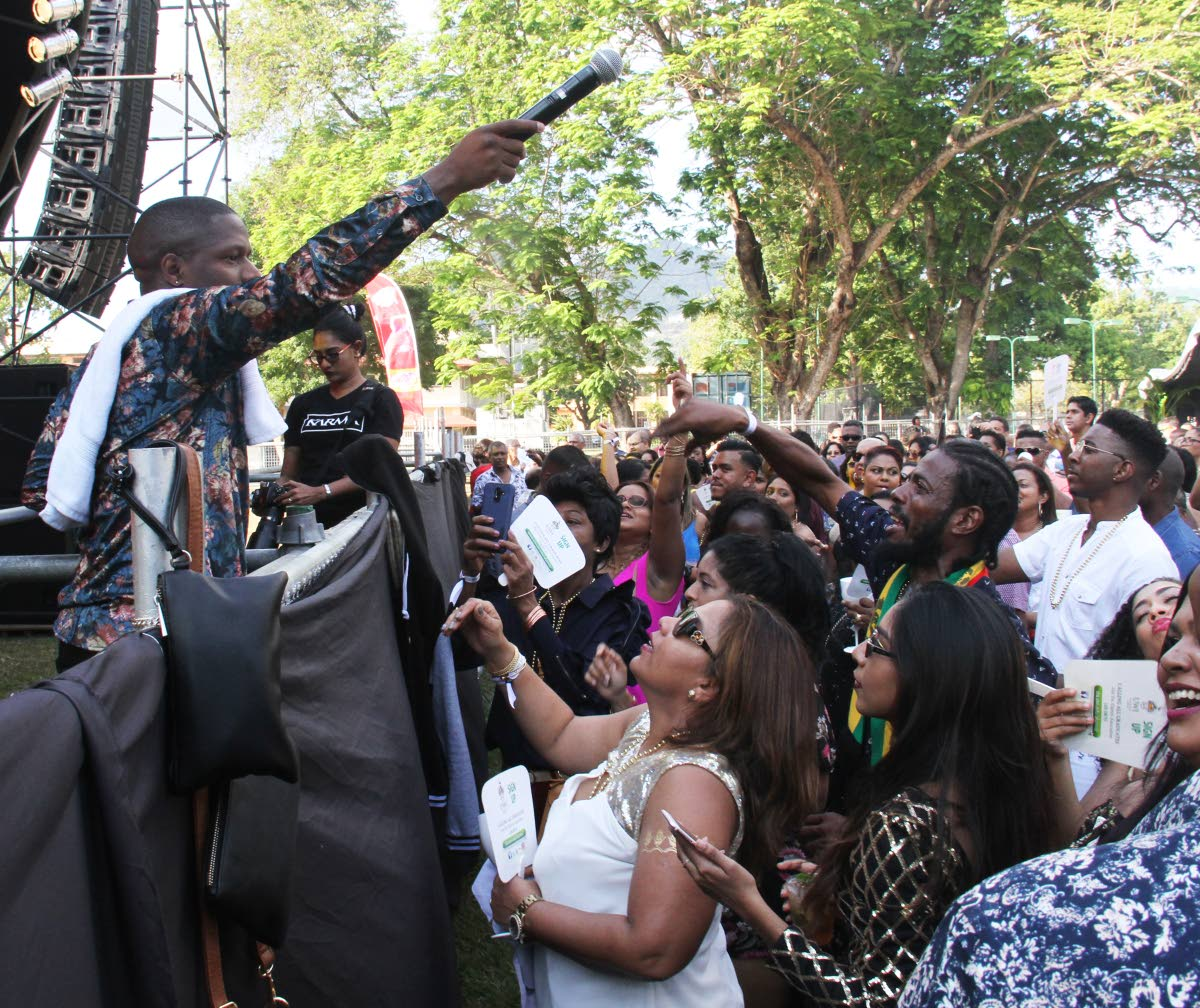 "Reigning Soca Monarch Aaron ""Voice"" St Louis interacts with the crowd. PHOTOS BY AYANNA KINSALE"