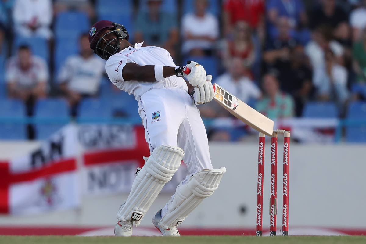 West Indies batsman Darren Bravo sways away from a bouncer against England in the 2nd Test in Antigua.