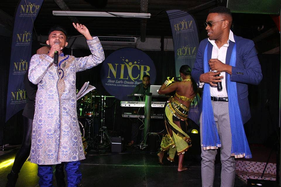 "Nesar Hosein and Akil ""5Star Akil"" Borneo perform at the Chutney Soca Monarch semi-finals on January 26."