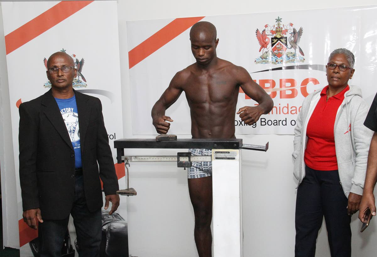 Prince-Lee Isidore during a weigh in at the TBBC, Hasley Crawford Stadium, on Friday. PHOTO BY ANGELO MARCELLE