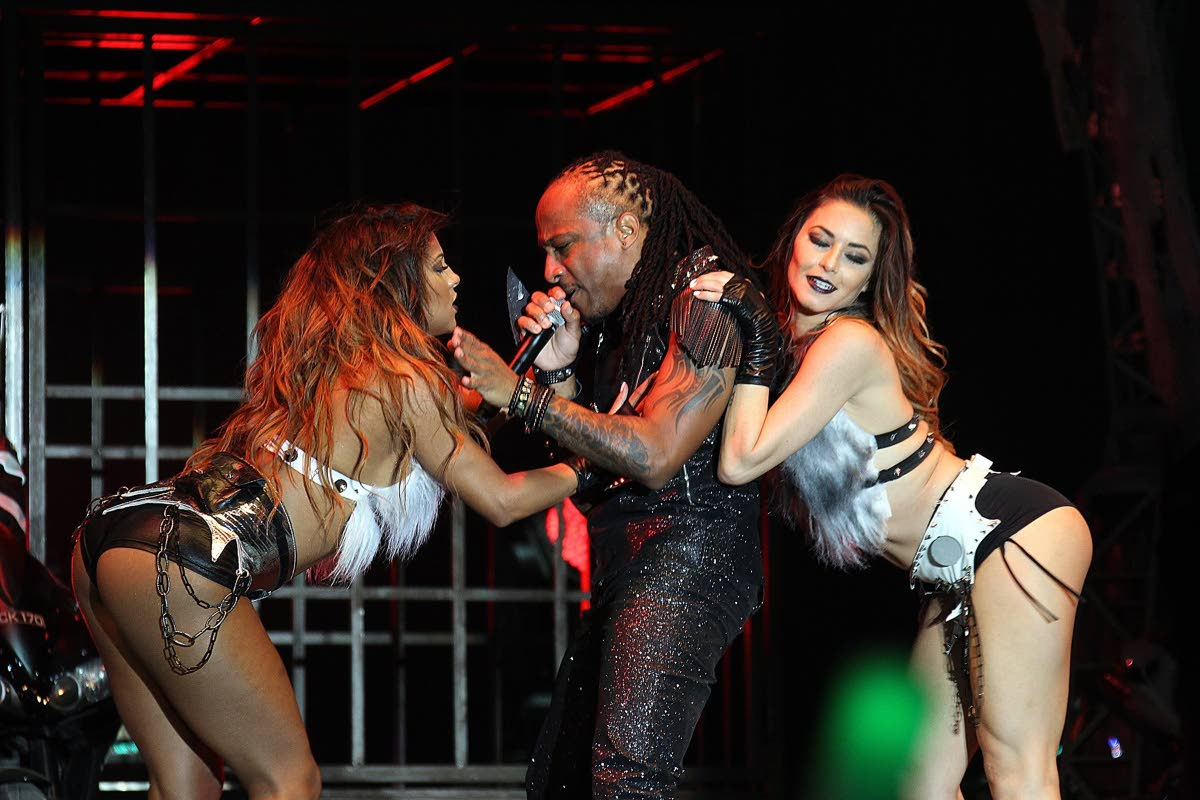 Kerwin DuBois in a raunchy performance of Too Real at the 2014 Groovy Soca Monarch final which he won.