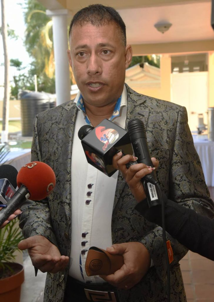 Commissioner of Police Gary Griffith addresses the media during  the I Support Our Service Convergence event at the Commissioner's Residence, St James. PHOTO BY KERWIN PIERRE