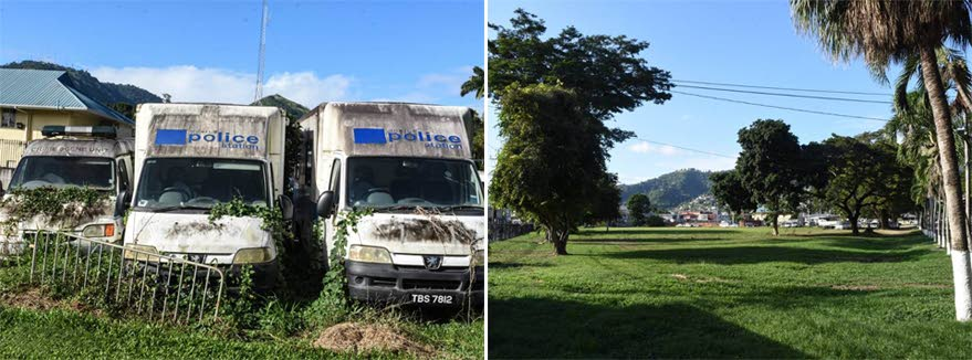 ALL GONE: This composite photo shows at left, derelict vehicles at the front entrance of the Police Academy in St James last year, and at right, the same area cleared of the vehicles on a directive of Police Commissioner Gary Griffith. PHOTOS COURTESY TTPS