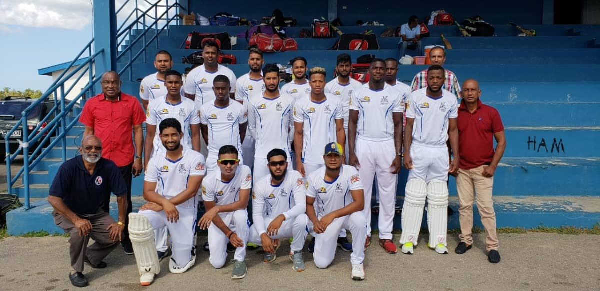 Victoria Sports Club squad with TT Cricket Board officials before their opening round match against defending champions Alescon Comets in the 2019 National League on Saturday in Charlieville. PHOTO COURTESY TTCB