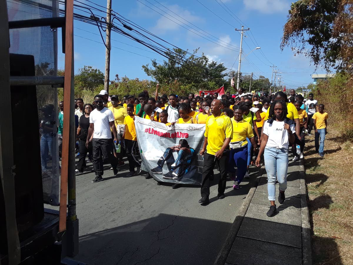 Students and staff from schools all across Tobago take part in an anti-bulllying rally in Lowlands on Tuesday. PHOTO BY ELIZABETH GONZALES