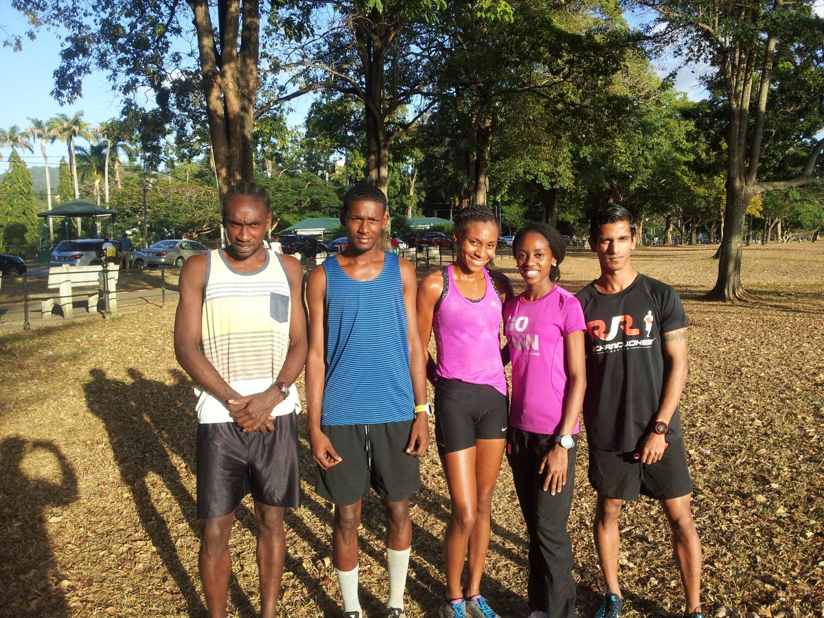 TT cross country athletes Sherwin Stapleton, from left, Anthony Phillip, Samantha Shukla, Tonya Nero and Shirvan Baboolal at a training session at the Queen's Park Savannah, yesterday.