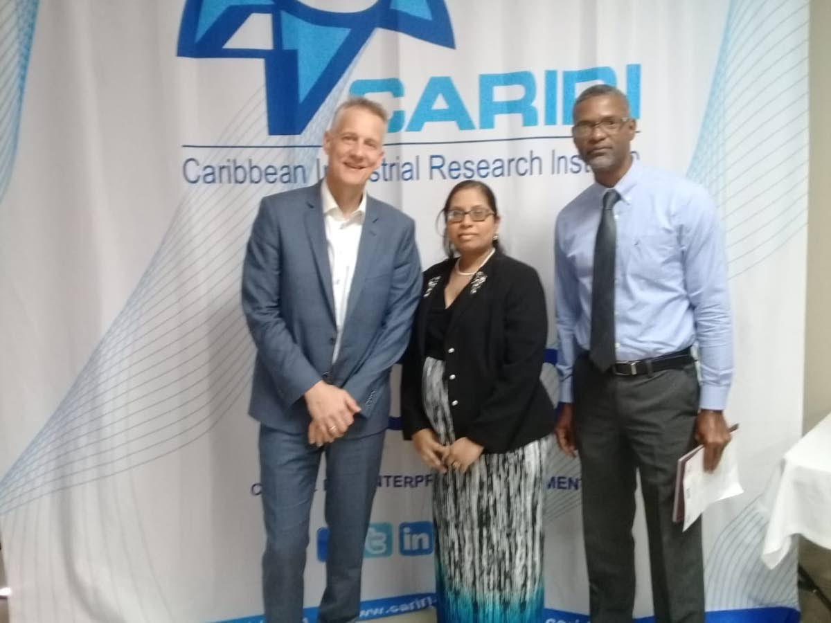 Danish Technological Institute director for ideas and innovation, Knud Erik Hilding-Hamann stands with Cariri business development officer Melissa Bissoondath and Ideas Advisory Service (IAS) project chief Hayden Charles.