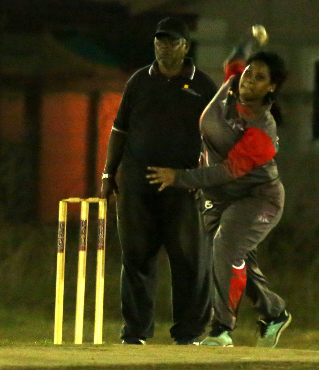 Cricket Divas' Makhila Superville bowls against Players Sports in a premiership division match at Avidesh Samaroo Park, Endeavour. PHOTO BY VASHTI SINGH