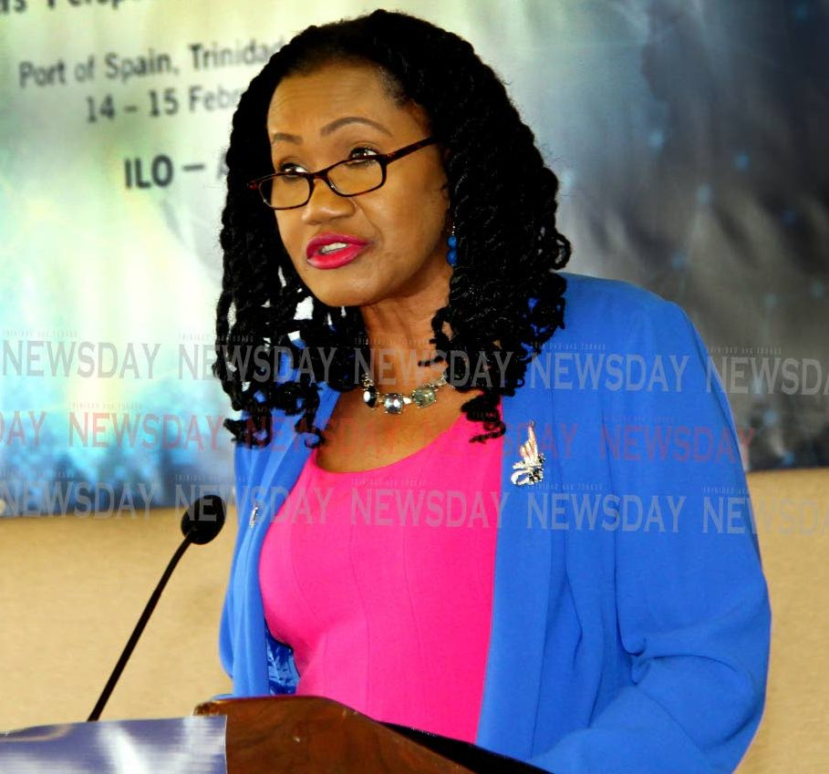 Labour and Small Enterprise Minister Jennifer Baptiste Primus speaking the International Labour Organization (ILO) conference at the Hilton Hotel in Port of Spain.  PHOTO SUREASH CHOLAI
