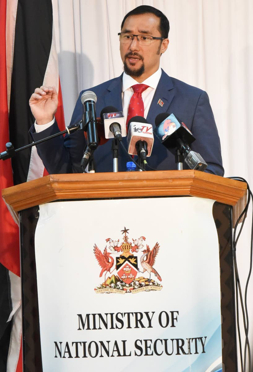 National Security Minister Stuart Young at a press conference yesterday in Port of Spain.