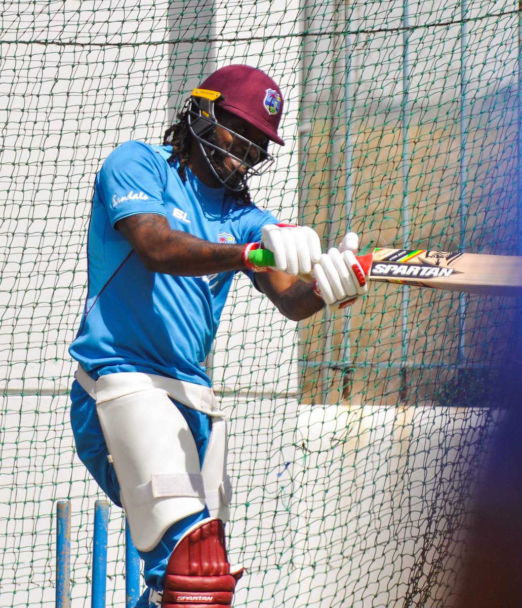 West Indies batsman Chris Gayle takes a knock in the nets at Kensington Oval in Barbados on Sunday. PHOTO COURTESY CWI MEDIA