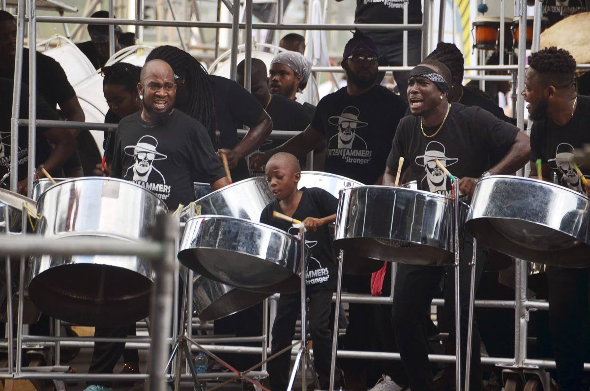 Members of the Black Rock-based  Katzenjammers Steel Orchestra, perform the late Winston Bailey's (Shadow's) Stranger for the semi-finals of Panorama last Sunday.PHOTO BY Division of Tourism