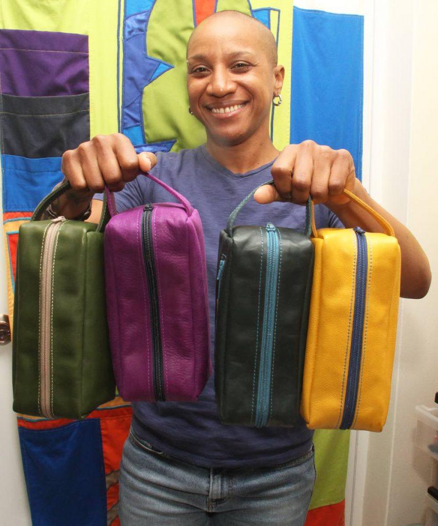 Leather pouches in several colours, made by Gabrielle Punch. Photo by Ayanna Kinsale