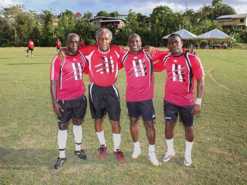 Former Strike Squad playes (from left) Clayton Morris, Brian Williams, Hutson Charles and Marvin Faustin will be in Barataria this weekend for a football masters Carnival reunion.