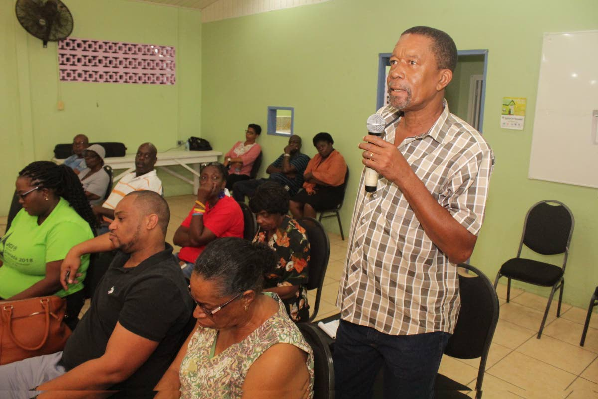 One resident raises concerns about the absence of health services at the Moriah Health Centre during the seconnd public health meeting on Wednesday night.