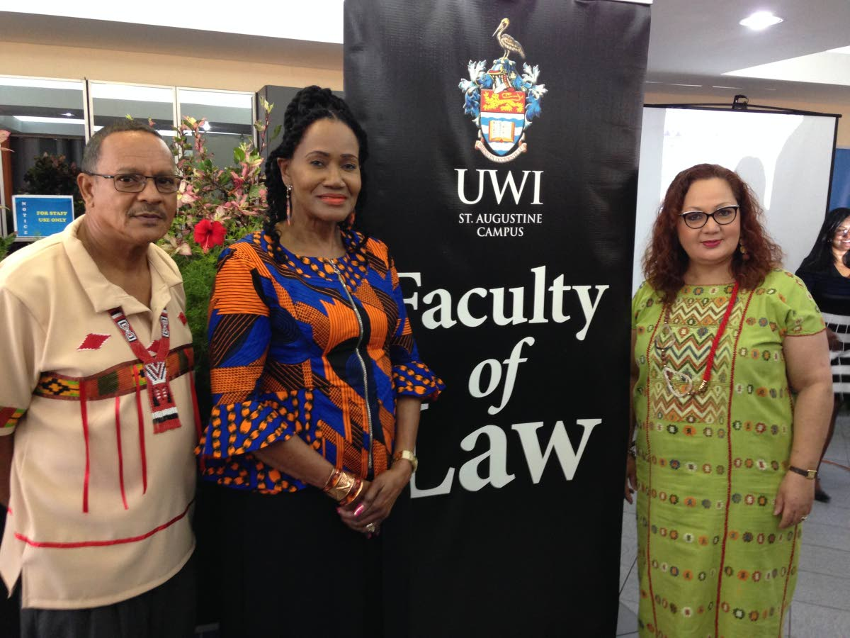 Chief Ricardo Hernandez, from left, Labour Minister Jennifer Baptiste Primus, and Prof Rose-Marie Belle Antoine at the training workshop Protecting Intellectual Property and the Environmental Rights of Indigenous Peoples in TT, UWI, St Augustine. PHOTO BY LISA ALLEN-AGOSTINI