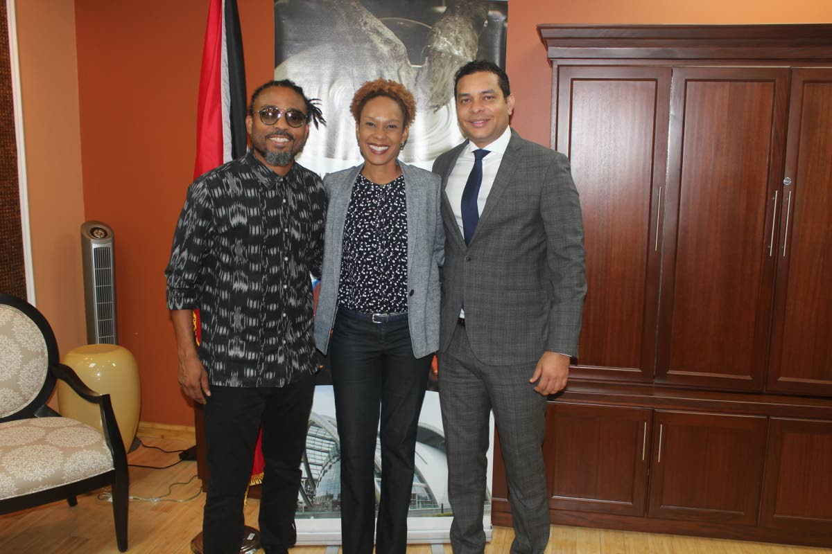 Tourism Minister Randall Mitchell, right, soca superstar Machel Montano, left, and CEO of TTL Camille Campbell following a meeting at the Ministry of Tourism last Thursday. PHOTO COURTESY MIN OF TOURISM