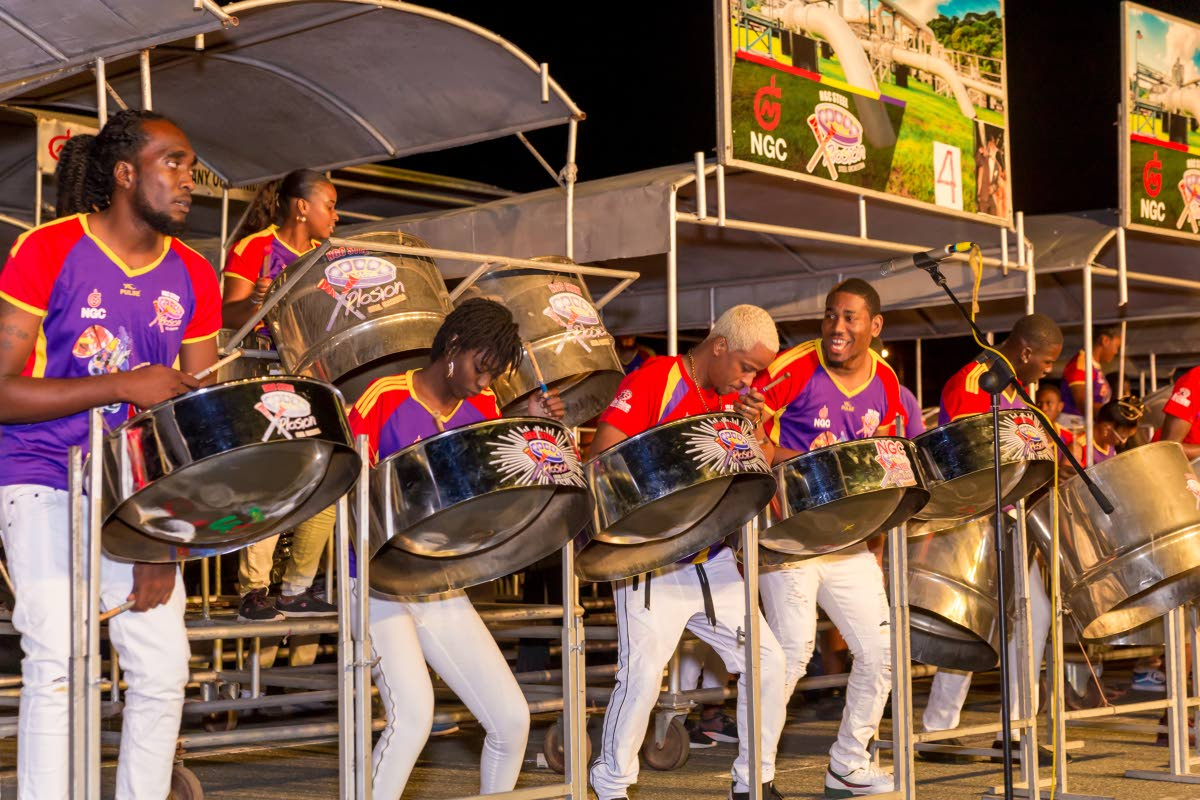 NGC Steel Xplosion performs Scrunter's Sing In She Party at the THA Pan Champs held last Saturday at the Dwight Yorke Stadium, Bacolet.