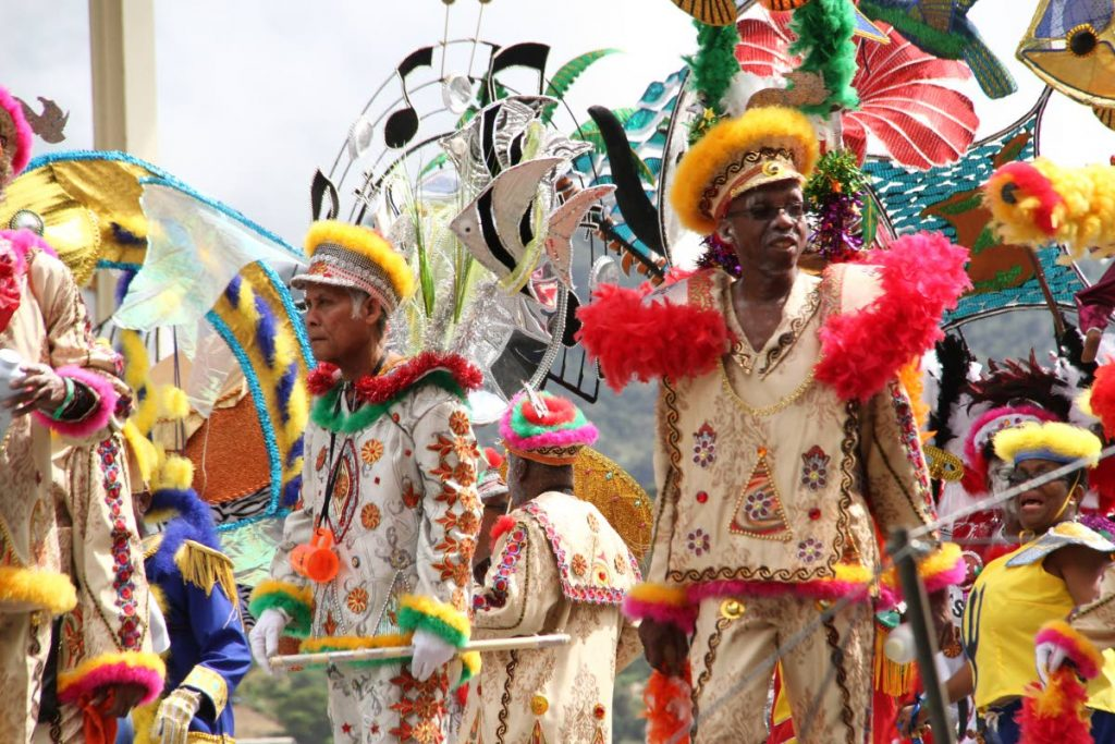 Belmont Stylish Exotic Sailors (D'Bess) chip across the Queen's Park Savannah , Port of Spain stage in the band, Sail the Caribbean, in Carnival 2017. FILE PHOTO SUREASH CHOLAI