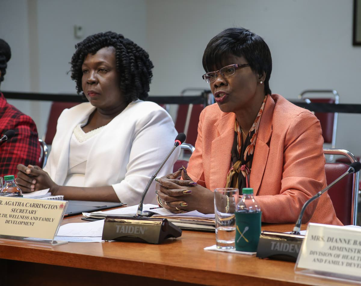Division of Health, Wellness and Family Development Secretary Agatha Carrington, right, at the 28th Meeting of the JSC inquiry into Local Authorities, Service Commissions and Statutory Authorities, Tower D, Port of Spain, in January.