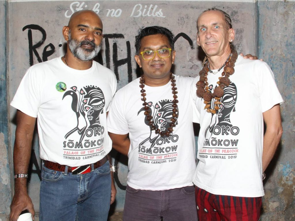 Moko Somokow Band Launch, the executive team, (L-R) Lester Roodnath, Band Co-ordinator, Veynu Siewrattan Band Leader and Alan Vaughan Mas Designer