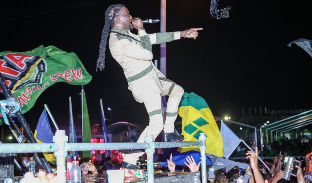 Mr Killa commands the audience at Army Fete, Queen's Park Savannah, Port of Spain. FILE PHOTO