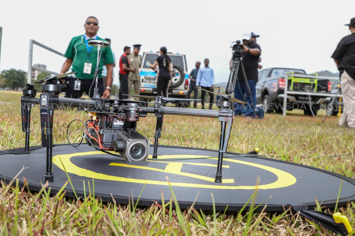 A Matrice 100 drone equipped with a Zenmuse Z30 Camera  on display at the Queen's Park Savannah, Port of Spain, on Saturday. The drone is among those that will be used by the TT Police Service to monitor Carnival this year. PHOTO BY Jeff K Mayers