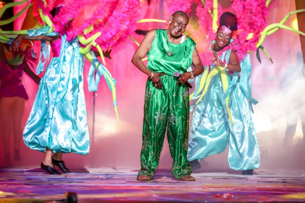 Calypso Rose gives a spirited performance at Dimanche Gras, Queen's Park Savannah, Port of Spain, on Carnival Sunday. PHOTO BY JEFF MAYERS