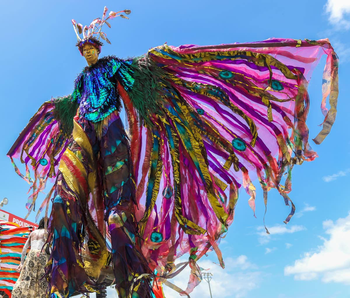 A majestic king from Moko Sõmõkow' hovers over the Queen's Park Savannah, Port Spain stage on Carnival Tuesday. FILE PHOTO