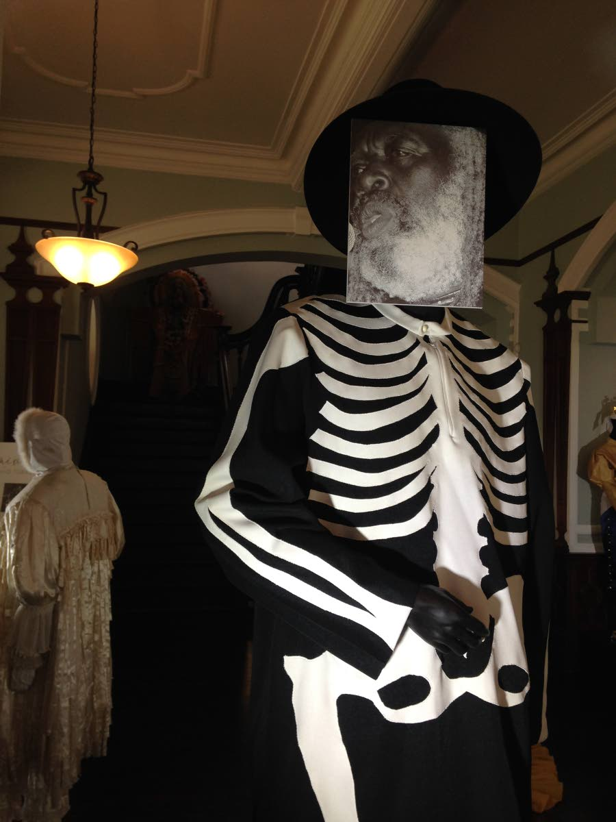 The Bassman from Hell was one of the nicknames of the late calypsonian  Shadow. His family loaned his famous skeleton suit to display at the exhibition.