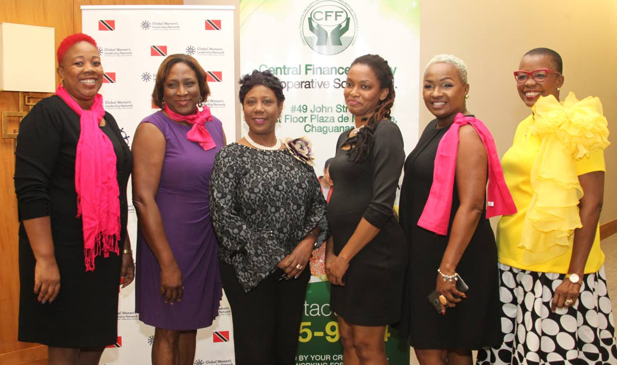 Brigid Annisette-George, Speaker of the House of Representatives and event feature speaker with, from left, Jamilia Drayton and Gail Rajkumar, co-founders of TT Sister Society; Letitia Telesford, president of Central Finance Facility; Julia Squires; and Margaret Sampson-Browne at function to celebrate International Women's Day put on by the society in collaboration with the finance facility at the Hyatt REgency, Port of Spain, on Friday. PHOTO BY ROGER JACOB