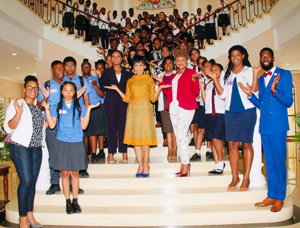 Sharon Rowley, wife of Prime Minister Dr Keith Rowley, celebrates International Women's Day with students, government ministers and