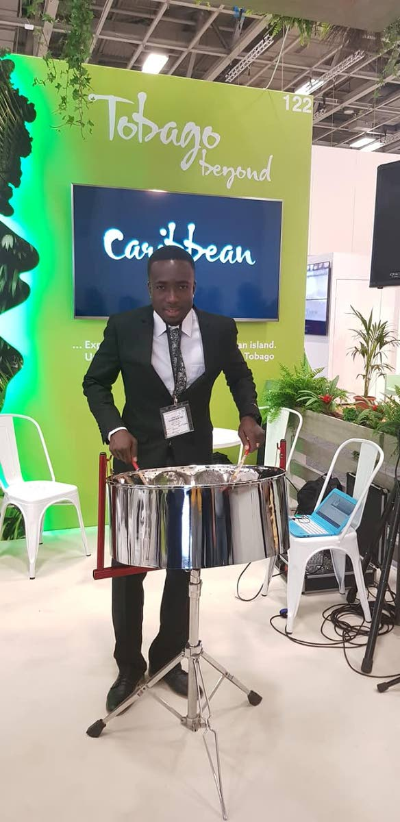 Arranger and top pannist Kersh Ramsey plays the steelpan as part of the local delegation to the International Tourism Bourse (ITB) in Berlin, Germany, last week. PHOTO COURTESY TOBAGO TOURISM AGENCY
