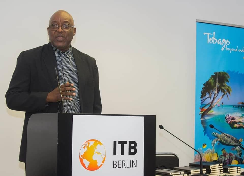 Chief Secretary Kelvin Charles speaks last week at ITB Berlin, the world's largest tourism and trade fair.