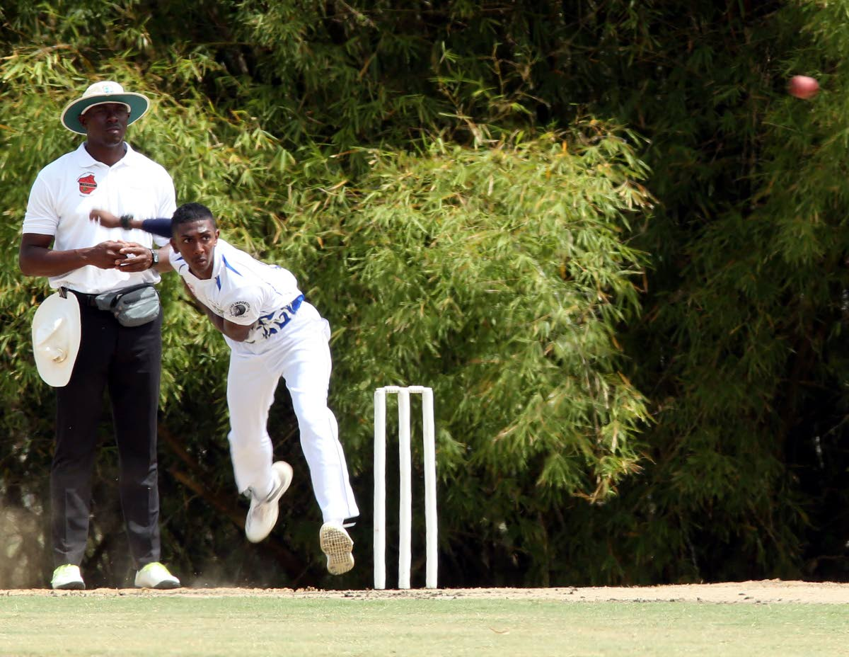 Presentation College, San Fernando's Vanir Maharaj bowls during the SSCL match against Couva East Secondary School, held at the National Cricket Centre, Balmain, Couva.
