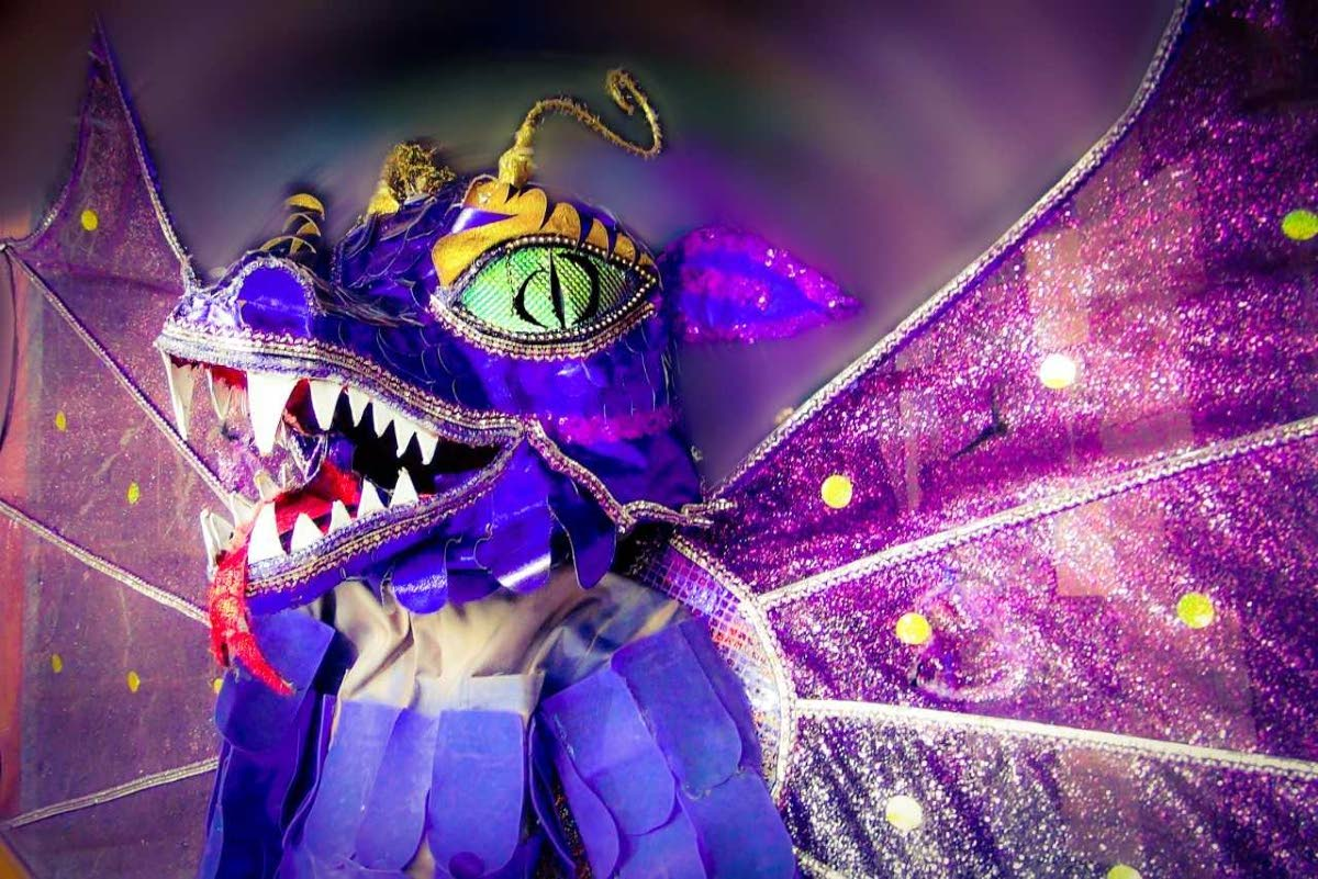 A purple beast/dragon mas costume, part of the current display at Carnival at the Castle which runs at Castle Killarney, Maraval Road,  Port of Spain, until March 30.