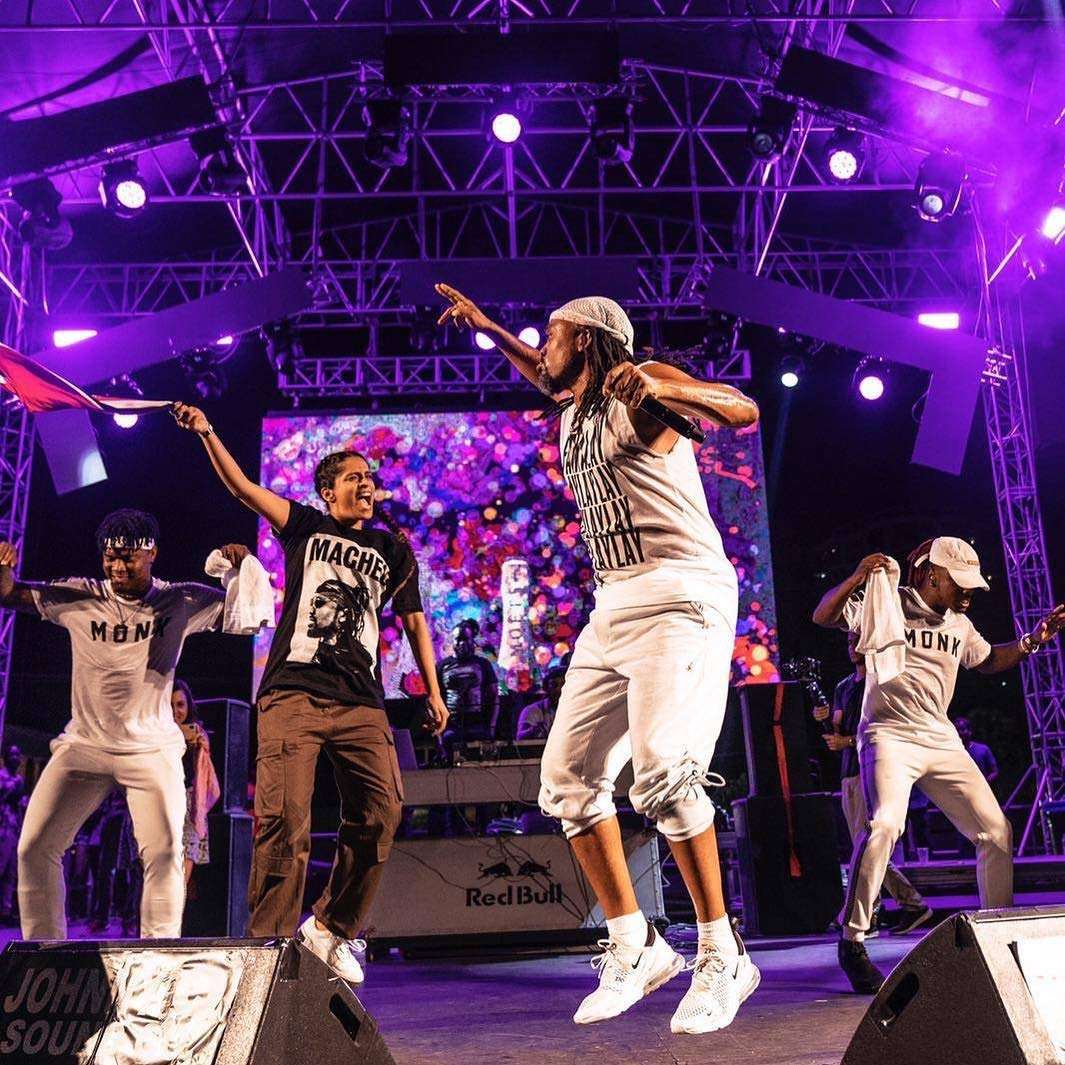 Lilly Singh, IISuperwomanII, second from left, on stage at a recent fete with soca star Machel Montano. Singh will be the only woman to host a late-night talk show on a major network. A Little Late with Lilly Singh launches in September on NBC.