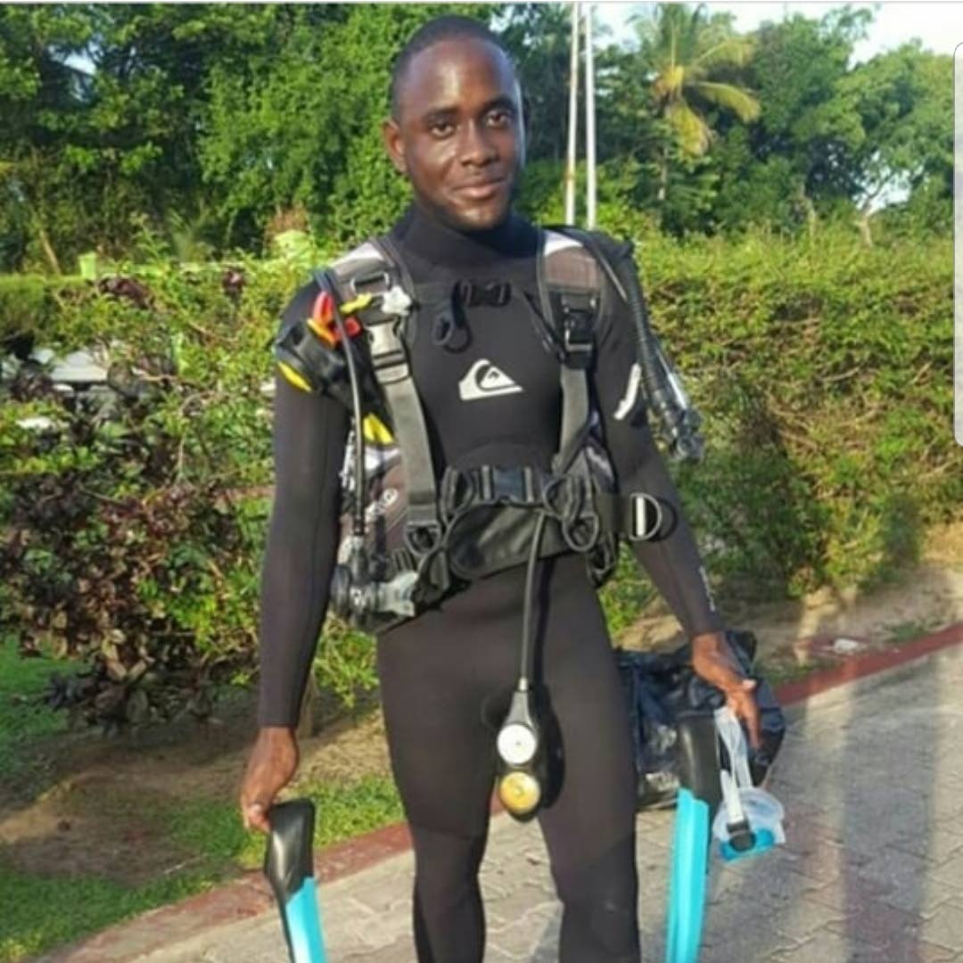 READY TO DIVE: Giovanni Vidalis at Storebay prepped for an underwater expedition.
