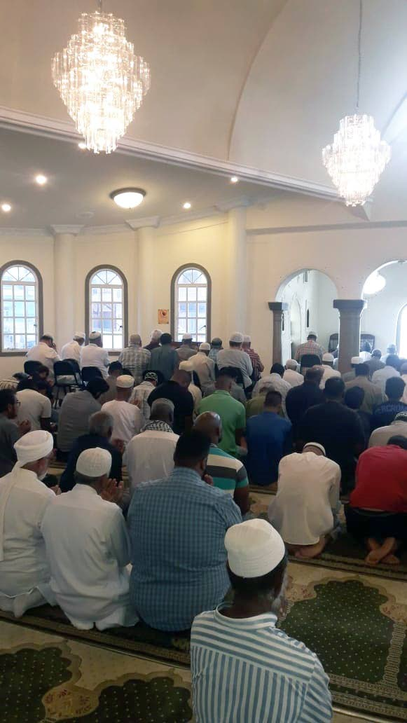 SPECIAL PRAYERS: Muslims offer special prayers yesterday at San Fernando ASJA mosque, for victims of the New Zealand massacre. PHOTO BY AZARD ALI