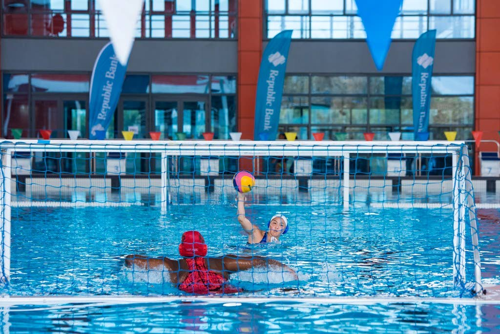 Action between Bishop Anstey and St Joseph's Convent in the Republic Bank National Secondary Schools Water Polo League final.