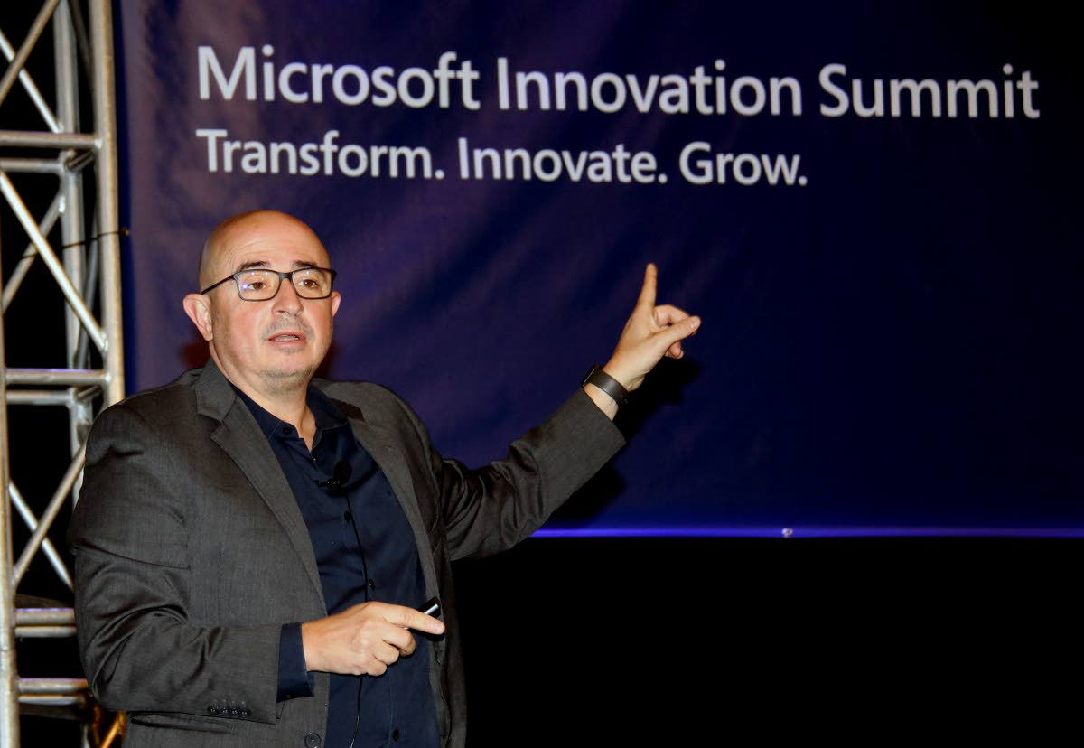 Microsoft director Roberto Icasuriaga Gatti speaks at the company's innovation summit at the Hyatt Regency in Port of Spain, on Tuesday. PHOTO SUREASH CHOLAI