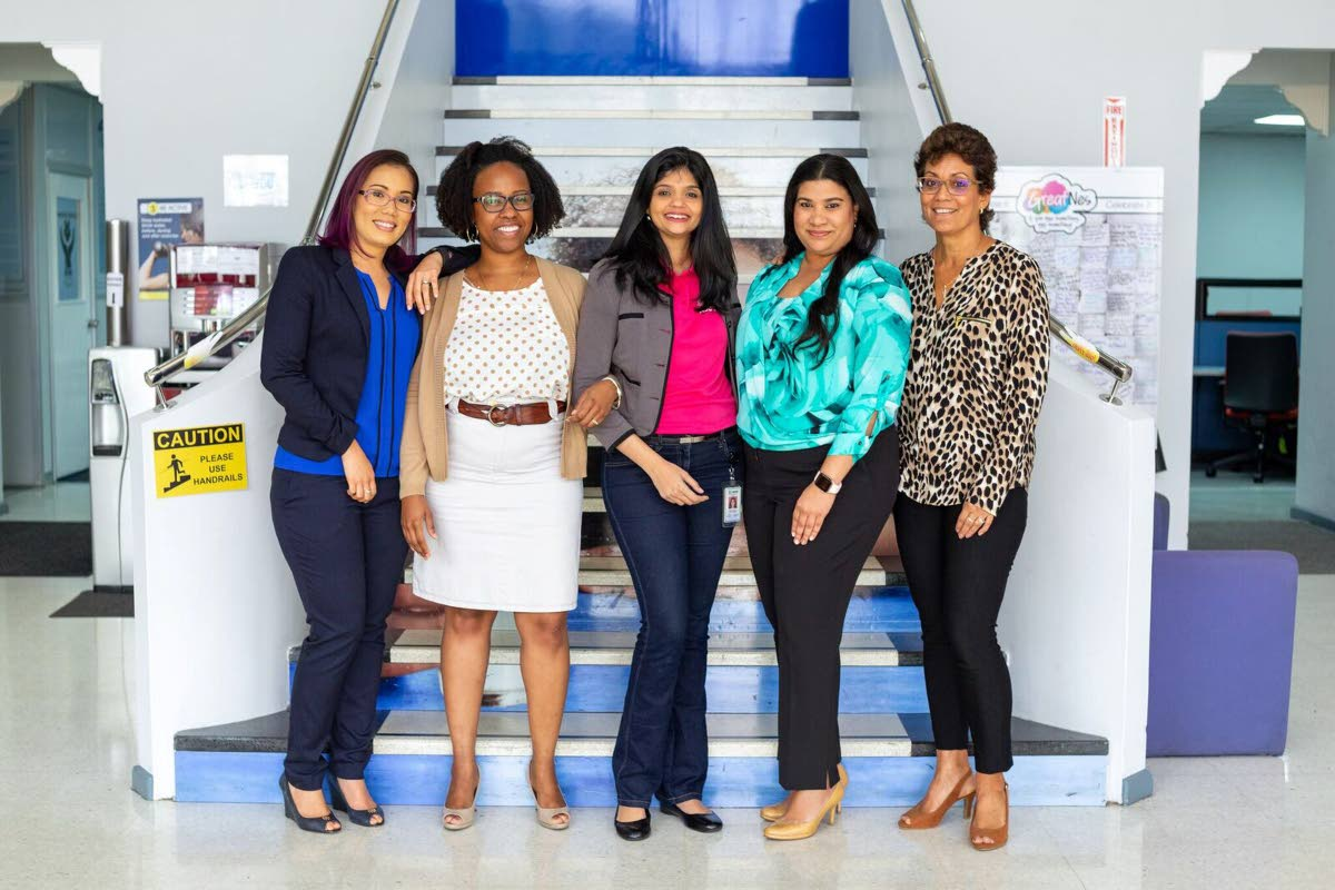 Elisa Doldron, business executive officer; Siti Jones, employee relations and talent manager; Kristin Martinez, head of human resources; Kavita Maharaj, business excellence manager; Denise D'Abadie, head of corporate communications. Photo courtesy Nestle
