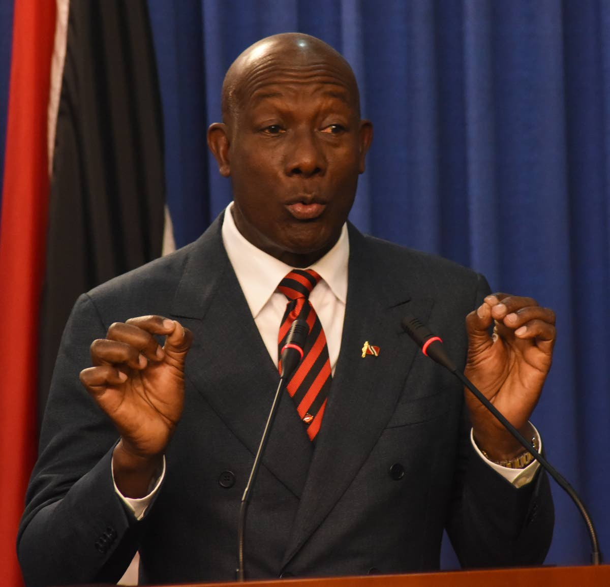 BACK AT WORK: Prime Minister Dr Rowley hosting the weekly post Cabinet press briefing yesterday at the Diplomatic Centre in St Ann's. PHOTO BY KERWIN PIERRE
