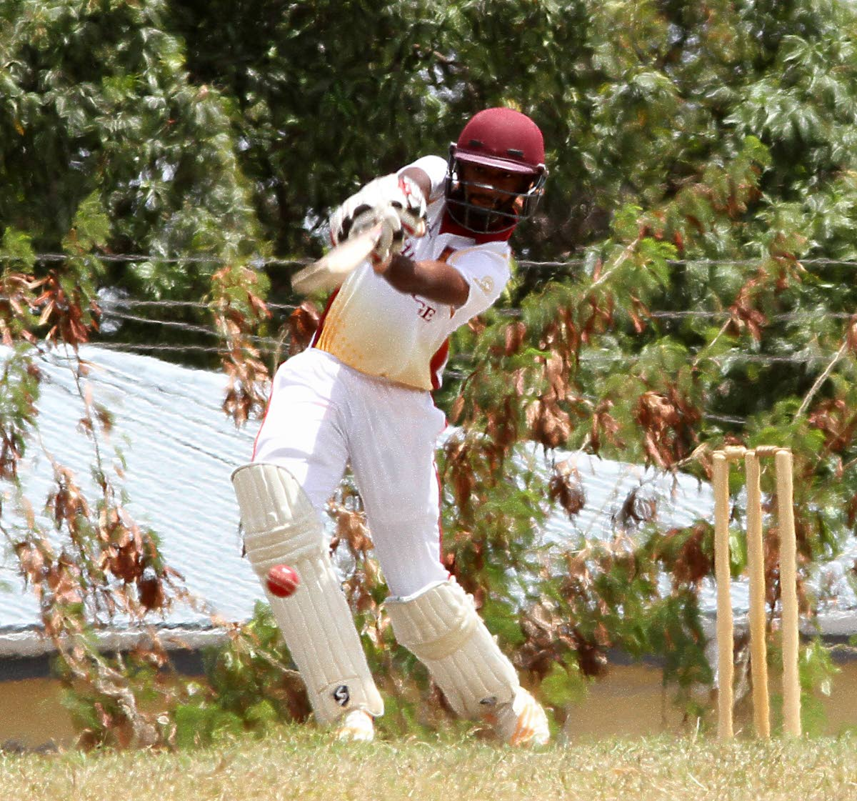 Hillview College's Navin Bidaisee plays a shot during a Powergen Intercol T20 tournament match against Trinity College East, at Honeymoon Park, Tunapuna,yesterday.