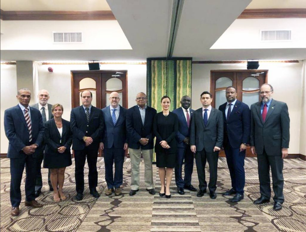 TT'S ROLE: Foreign and Caricom Affairs Minister Dennis Moses, left, is seen in this photo of Caricom Foreign Ministers who met on Saturday in Barbados with self-proclaimed interim President of Venezuela Juan Guaido. This photo was posted to Guaido's twitter account.